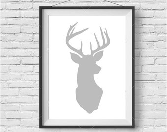 Gray Deer Print, Gray Deer Wall Art, Gray Deer Poster, Scandinavian Print, Gray Print, Gray Wall Art, Nursery Print, Nursery Wall Art