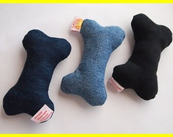 Set of 3: Dog Toys with Squeakers - Denim Dog Trio