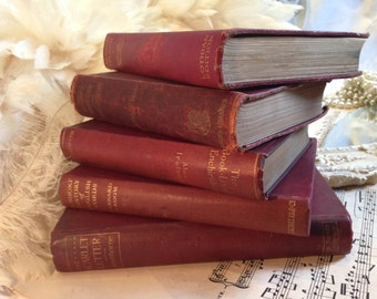5 Antique / Vintage Books - Red / Wine Books - Rustic Books - Shabby Chic Style 1880 - 1935 / Home Decor / Old Books / Wedding Decor #2143