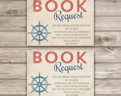 Book Request Insert Nautical Baby Shower Invitations Navy Red Stripes Summer Theme Party Navy Blue Anchor Vintage Ahoy its a Boy Invitations
