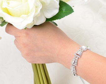 Crystal Rhinestone Bracelet, Bridal Bridesmaid Braceleet, Wedding Accessoreies, Silver Crystal Bracelet, Bridal Jewerly.