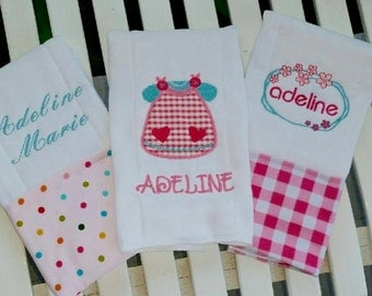 Girlie Girl Burp Cloths!  Set of 3 So Cute and Ready to be Personalized for that PERFECT Gift!