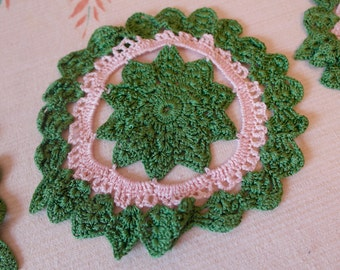 Vintage Crochet Doilies, Vintage Shabby Chic Decor, Collection of Vintage Doilies, Country Home Decor, Country Style