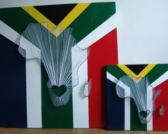 South African Flag Nail String Art