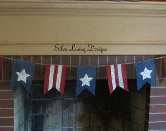 Patriotic Bunting, July 4th Bunting, 4th of July Banner, Patriotic Décor, July 4th Decor, USA Décor,Americana, Burlap Banner, Ready to ship