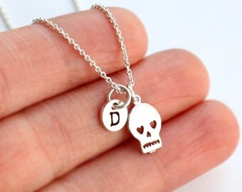 Tiny Silver Skull Bracelet, Rhodium plated skull Bracelet, Initial with Minimal Silver Skull Bracelet, gift for her, name jewelry