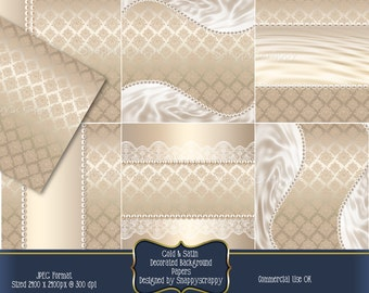 Gold Satin Background Papers, Digital Scrapbooking Papers, CU4CU, CU