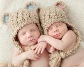 Bear Hat, Pick One, Baby Boy Hat, Baby Girl Hat, Crochet Baby Hat, Baby Newborn Hat, Newborn Photo Prop, Bear Ear Flap Hat, Twin Hat