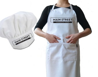 Personalised Chef's Hat And Apron Set, Premium Drill Burn Proof Cotton Personalized with your Cafe, Diner Or A Joke For Dad During The BBQ 1