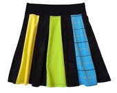 XL T Shirt Skirt Rainbow and Black Jersey Knit Panel Skirt, made from Upcycled T Shirts, with Black Cotton/Spandex waistband