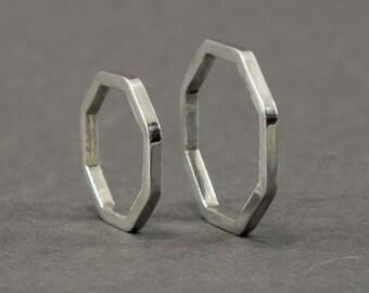 Hexacon silver ring