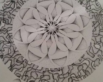 Dotwork Flower Modern Art