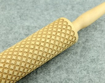 Embossing Rolling Pin, Wood Rolling Pin, Custom Accepted - by Melodywoodart