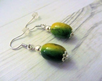green and yellow bead drop earrings