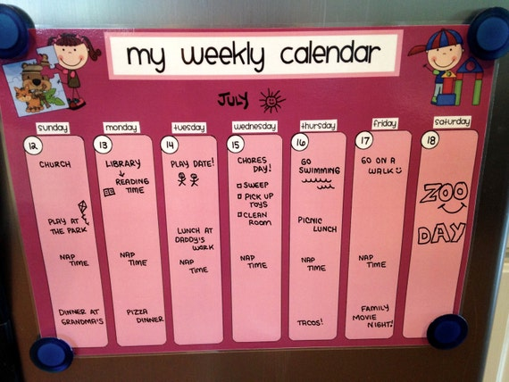 Weekly Refrigerator Calendar : Items similar to weekly kids dry erase fridge calendar