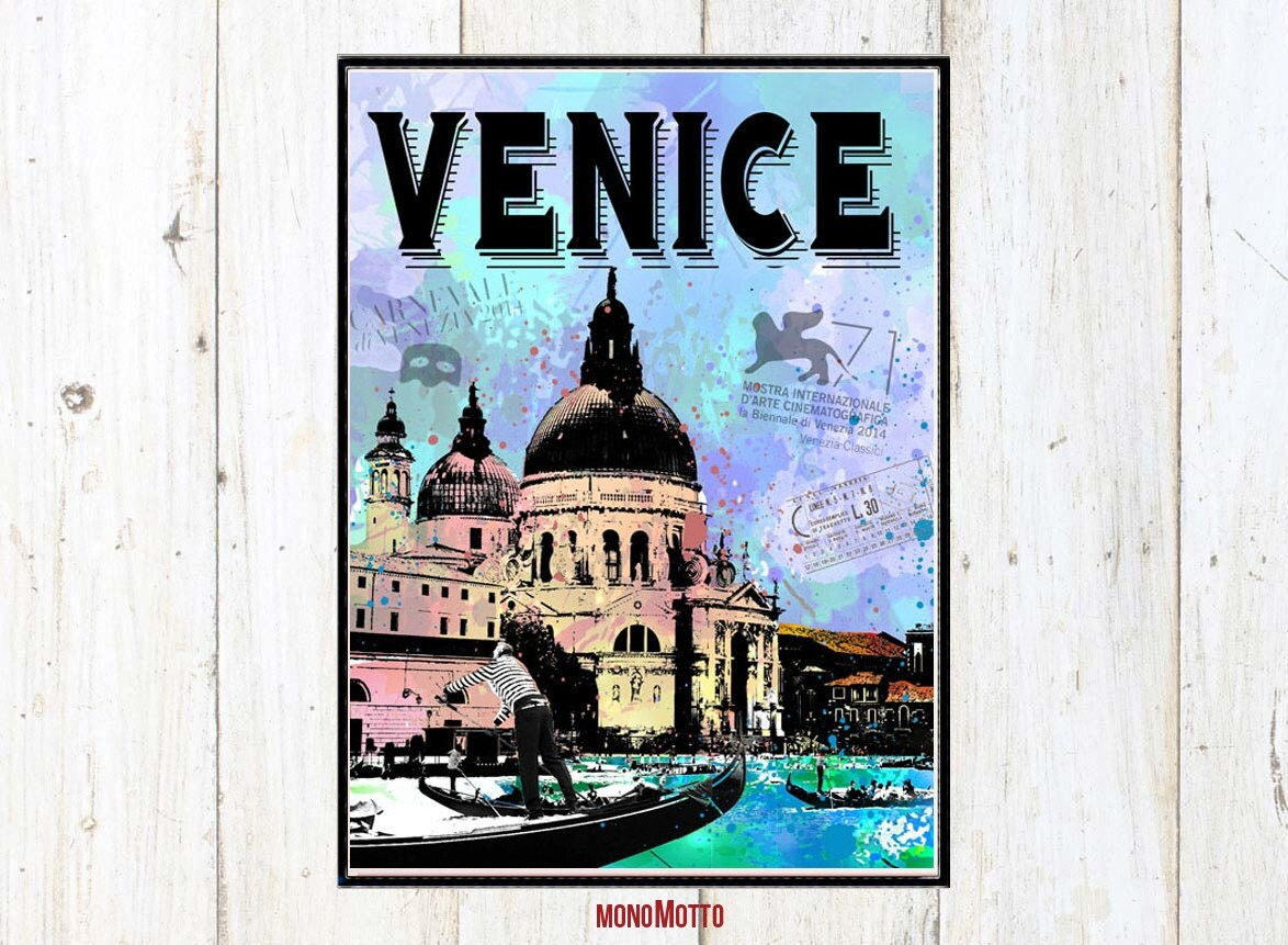 Venice Wall Decor Touristic Poster Famous Cities With The City
