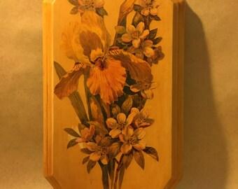 Vintage Decoupaged Floral Wooden Plaque