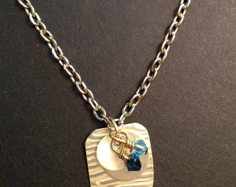 Charm necklace with crystals