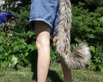 Realistic two tone brown cat tail