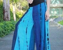 Artist Clothing Applique Blue Tone Gypsy Hippie Yoga Cotton Pants