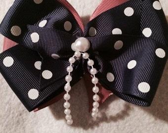 Blue Polka Dot Hair Bow