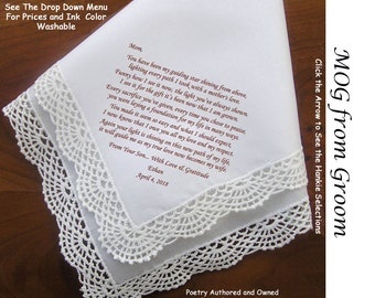 Mother of the Groom Gift Handkerchief  From the Groom 0811 Sign & Date Free!  5 MOG Wedding Hankerchief Styles and 8 Ink Colors.
