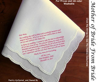 Mother of the Bride Gift Handkerchief  0110 Sign & Date Free!   5 MOB Wedding Hankerchief Styles and 8 Ink Colors.