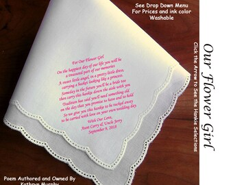 Our Flower Girl Gift Handkerchief ~ 0905C Sign & Date Free!  5 Flowergirl Handkerchief Styles and 8 Ink Colors. Flower Girl Hankerchief
