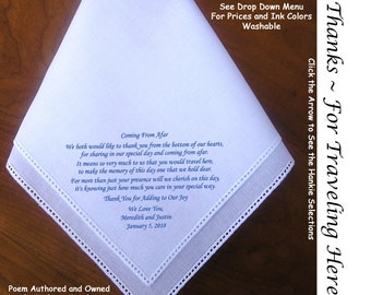 Thank You for Being Here Wedding Hankie 0304 Sign & Date Free!  5 Wedding Hankerchief Styles and 8 Ink Colors. Men or Woman