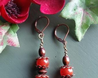 Red Agate Copper Earrings