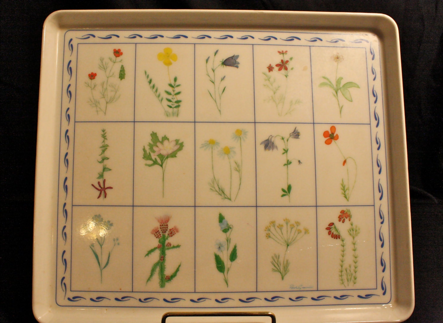 Design imports melamine serving tray wild flowers design for Design made in italy