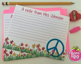 teacher note cards, Set of 10 personalized note cards, teacher stationery, teacher present, teacher gift, note from teacher