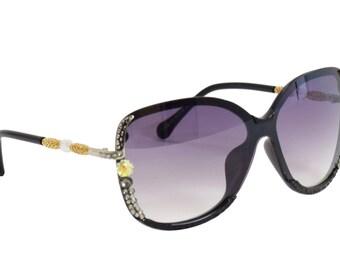 Fashionable Black Frame Sunglasses with Green Swarovski Crystal