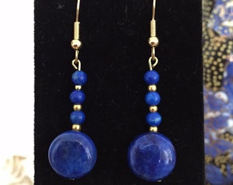 Genuine Lapis Lazuli Earrings With Gold Accents