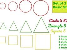 5 Sizes Basic Shapes Applique Design, Circle Applique Design, Triangle Applique Design, Square Applique Design,Machine Applique Design
