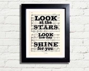 Look At The Stars Look How They Shine For You Cold Play Music Lyrics A4 Printable INSTANT DIGITAL DOWNLOAD Inspirational Music Quote