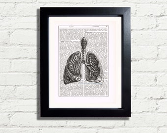 Steampunk Anatomy Lungs Diagram Printable INSTANT DIGITAL DOWNLOAD Vintage Dictionary Style Home Decor Inspiration Wall Hanging image