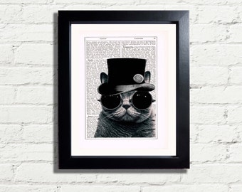 Vintage Steampunk Kitty Cat Top Hat and Goggles Compass Printable INSTANT DIGITAL DOWNLOAD Wall Art Vintage Dictionary Style Image A4 Pdf