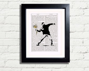 Banksy Throwing Flowers A4 Printable Graffiti Wall Art Print INSTANT DIGITAL DOWNLOAD Vintage Dictionary Style  Home Decor Picture Gift Idea
