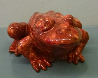 Dragon's Breath Frog--Hand-Painted--Glazed Ceramic Bisque--Home-Patio-Garden Decor--Seasonal-Year Round Usage