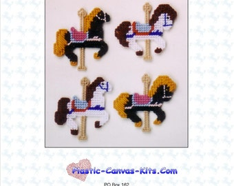 Carousel Horse Magnet Set-Plastic Canvas Pattern-PDF Download