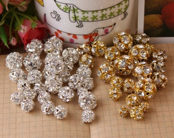 10pcs-6/8/10/12/14mm Gold Silver Fire Ball Round Rhinestone Spacer Bead Beads Clear Crystal Rhinestone Prong set Craft Findings