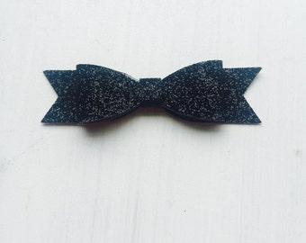 Black glitter bow
