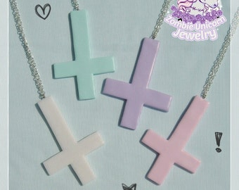Pastel goth inverted crosses