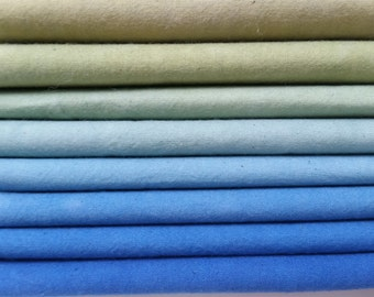 "Hand dyed cotton fat quarters for quilting, gradation of blue to sand, ""Pacific Surf"""