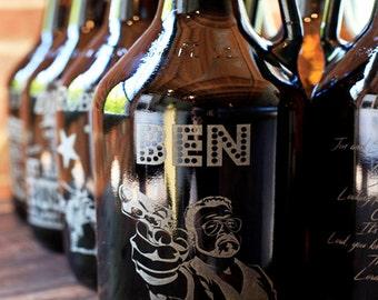 Custom engraved & personalised 64oz beer growler, groomsmen gift, birthday gift, wedding gift. UNLIMITED engraving,FREE engraved coaster!