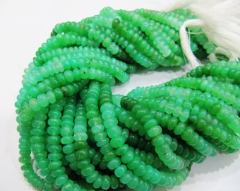 """AAA Quality Chrysoprase Smooth Rondelle Beads, approx. 8 """" Gemstone Strand,  Chrysoprase beads size 6mm to 7mm. Exclusive Quality"""