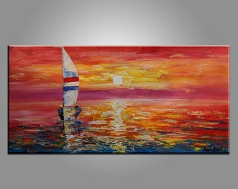 Large  Painting, Oil Painting, Seascape Painting, Sail Boat Painting, Abstract Painting, Canvas Painting, Large Art, Original Art, Wall Art