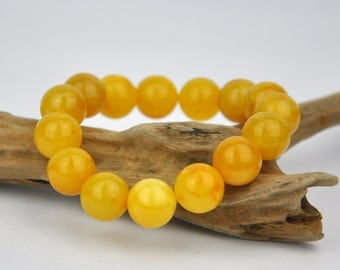 Antique butterscotch natural Baltic amber beaded bracelet 13,5mm round amber beads