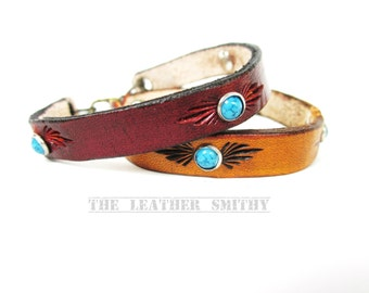 Thin Leather Bracelet with Turquoise Rivets, Leather Cuff, Hand Tooled, Western, Rustic, Bohemian, Woman's Gift, Handmade